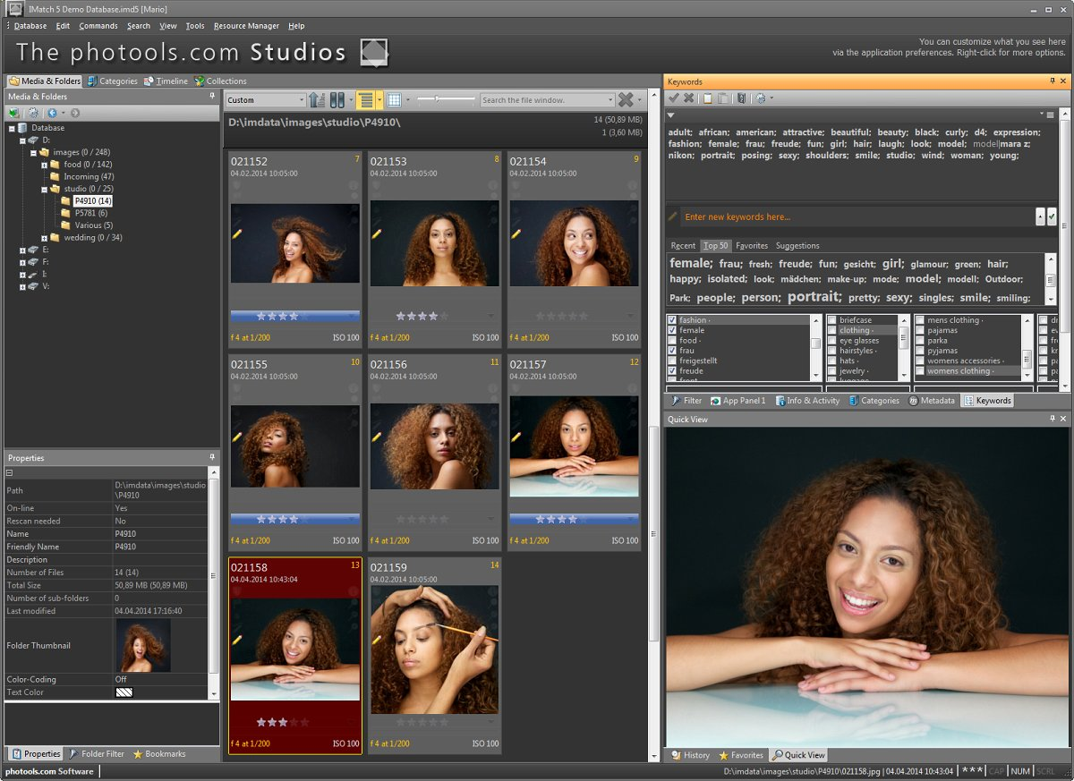 The IMatch workspace, showing photos taking during a studio photo session.