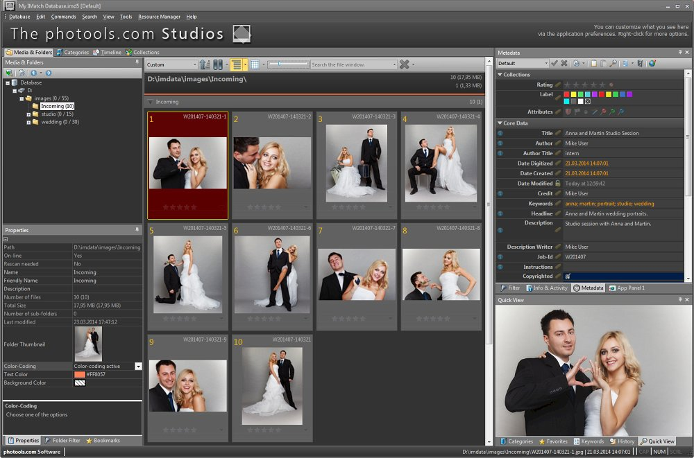 Mike is a portrait photographer with his own studio. Here he shows us how he manages the photos taken during a wedding shoot in IMatch.