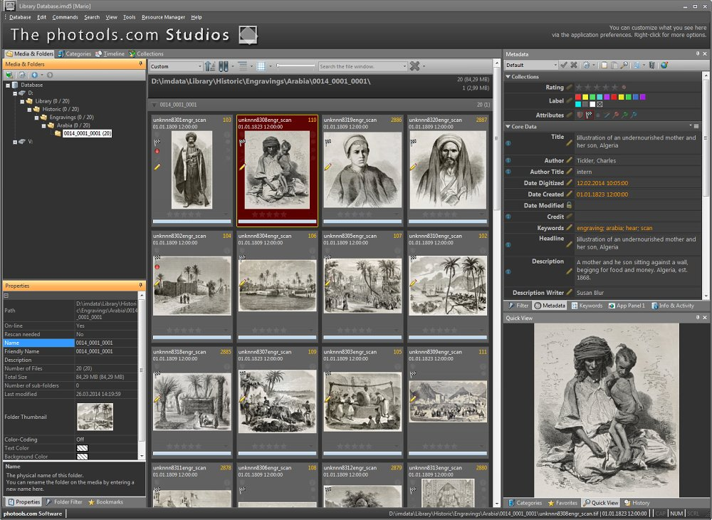 Susan manages scans of historic images and other documents in the image database system IMatch.