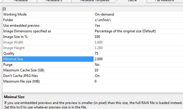 The IMatch Cache Preferences for RAW previews