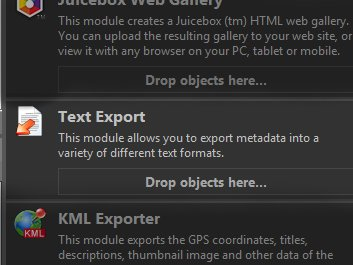 Drop files or other objects on the Text Export module in the Import & Export Panel