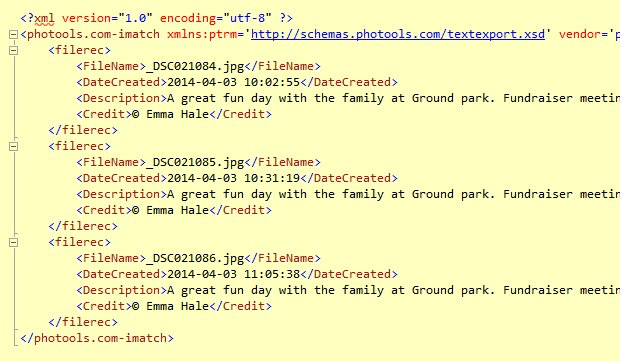 Metadata formatted as XML