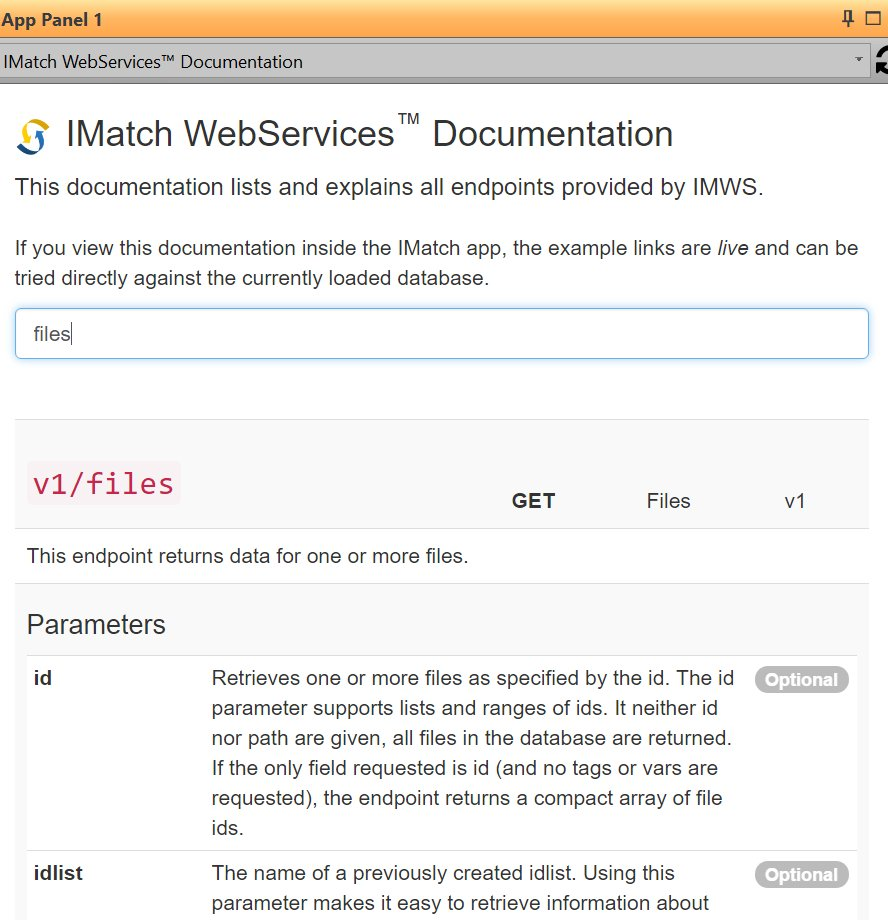IMatch WebServices Documentation App