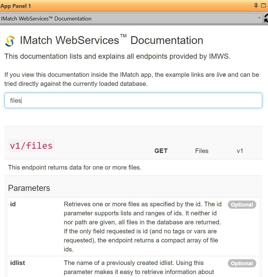 IMatch WebServices Documentation App