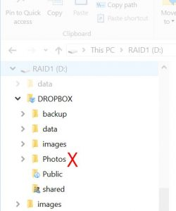 Image of Dropbox folder in Windows Explorer
