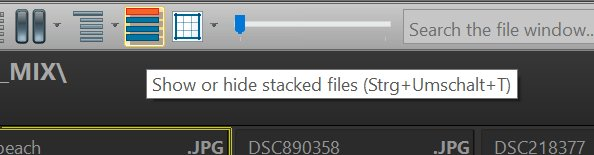 Showing and hiding stacked files with a single click